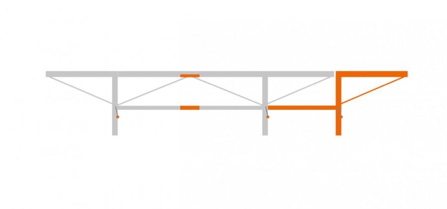 Verlängerung 1.0 m mit 1x extra Stammauflage, F2+